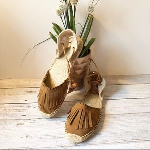 {Soludos} Brown Suede Fringed Lace Up Espadrille